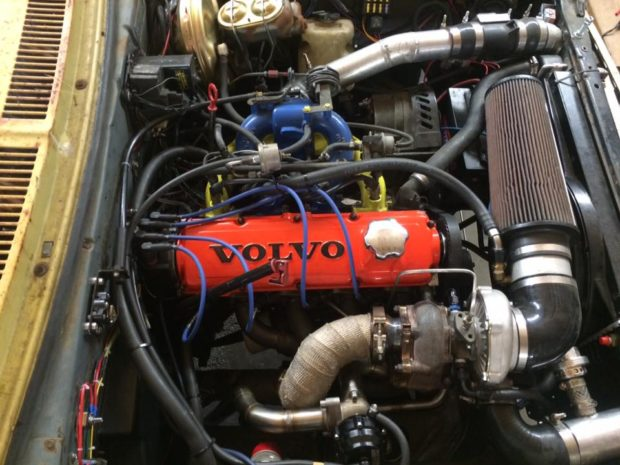 1973 Chevy Nova with a Volvo 2.3 L B230FT Redblock inline-four