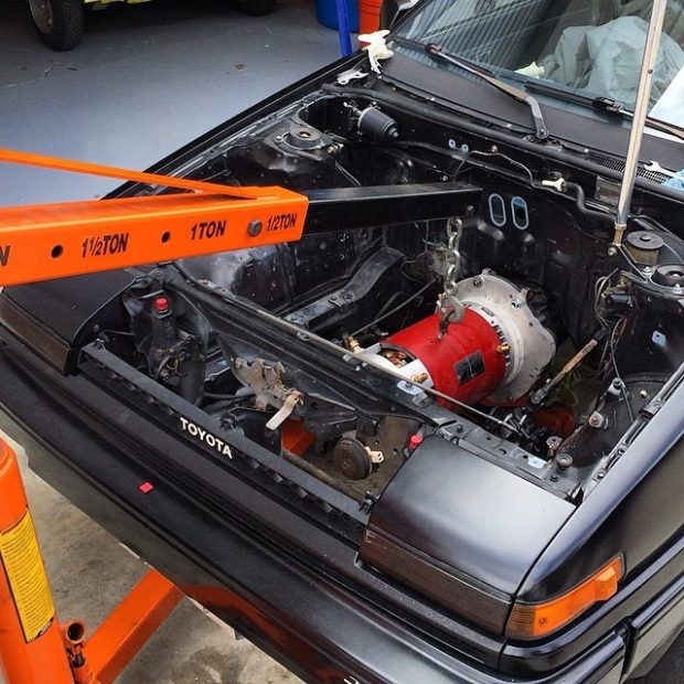 1986 Toyota Corolla AE86 with an electric motor