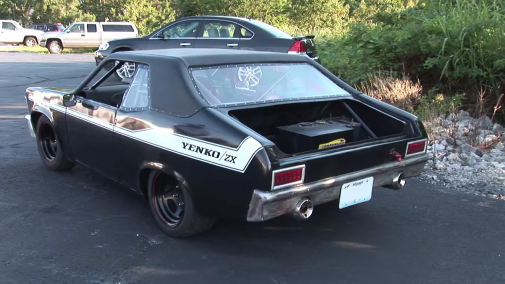 Mini 1970 Chevy Nova with a Kawasaki Ninja ZX-12R inline-four