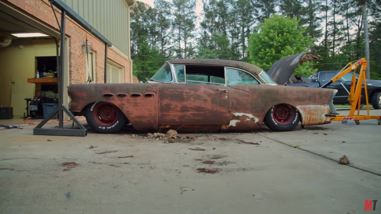 Roadkill Wraps A 1956 Buick Around C3 Corvette Chassis Engine Installing Electric Fan On