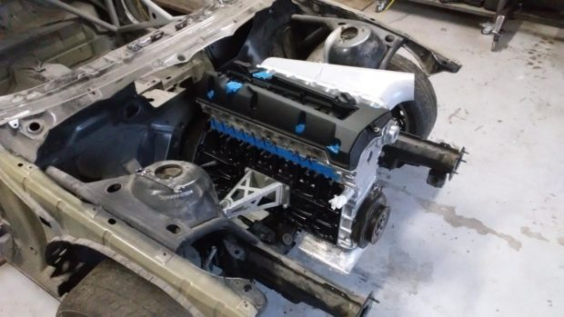 Mercedes M104 inline-six inside BMW E46 engine bay