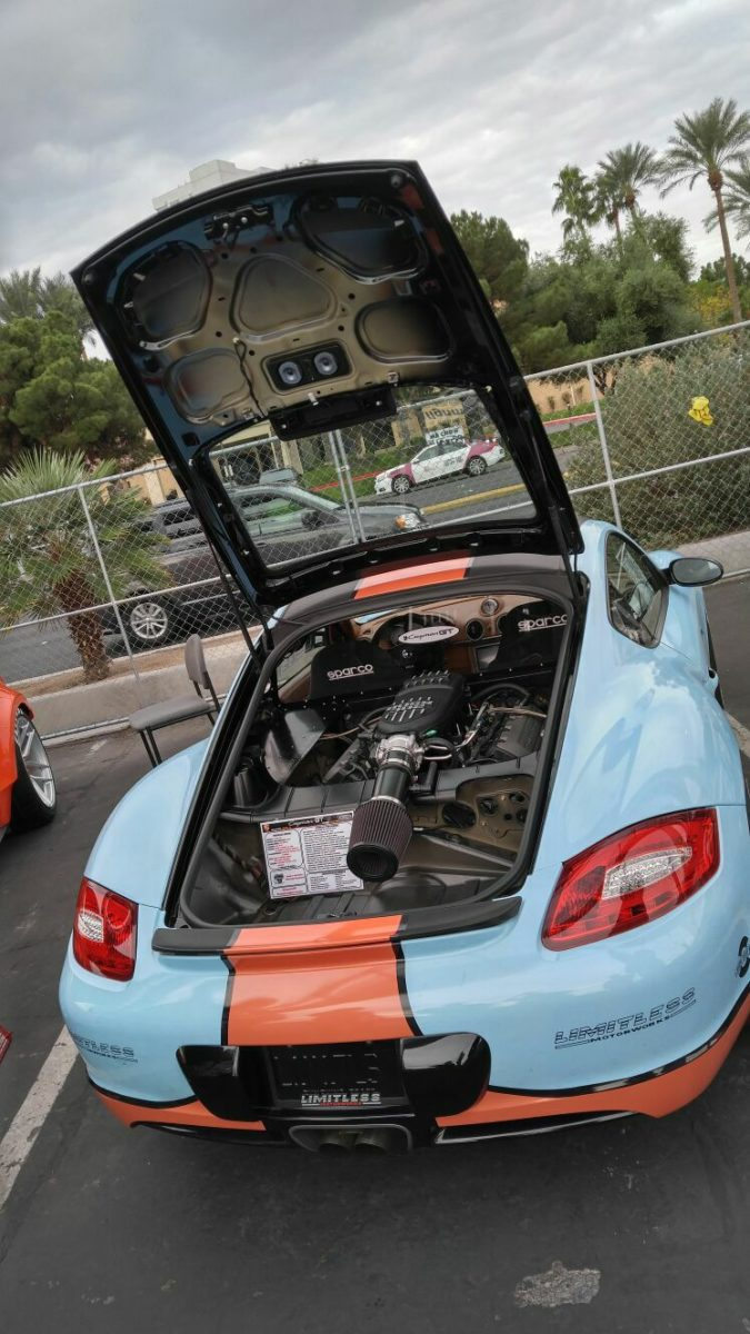 Porsche Cayman with a Ford 5.0 L Coyote V8