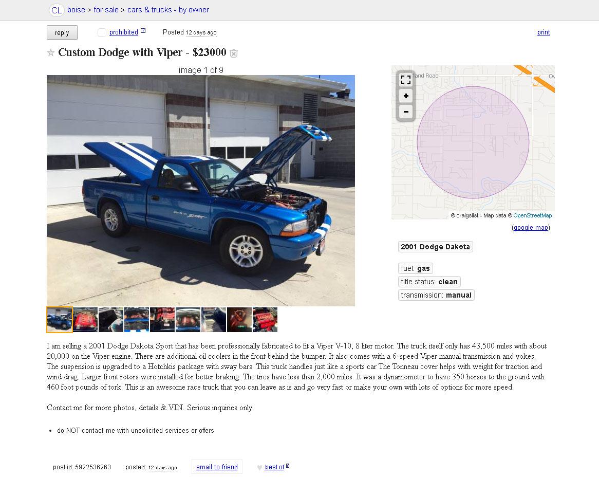 For Sale Dodge Dakota With A Viper V10 Engineswapdepot Com