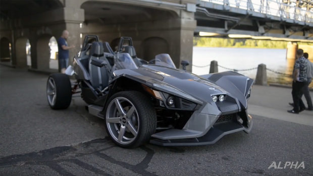 Four-wheeled Polaris Slingshot with a LS3 V8