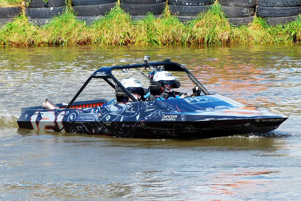 Race Jet Boat with a turbo 26B four-rotor