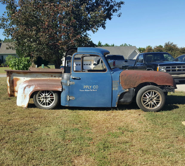 Custom Chevy truck with a Miata rolling chassis