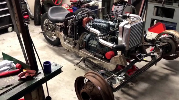Custom reverse trike with a Kubota turbo diesel inline-four