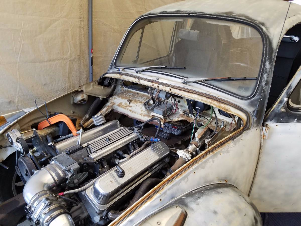 For Sale: 1971 Beetle on a S-10 Chassis with a SBC V8 – Engine Swap