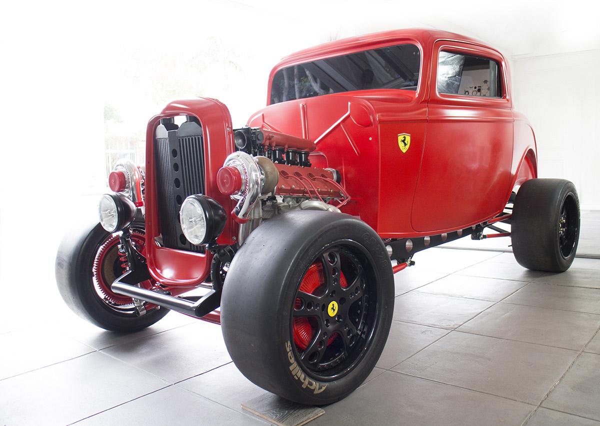 Custom 1932 ford with a twin turbo ferrari v8