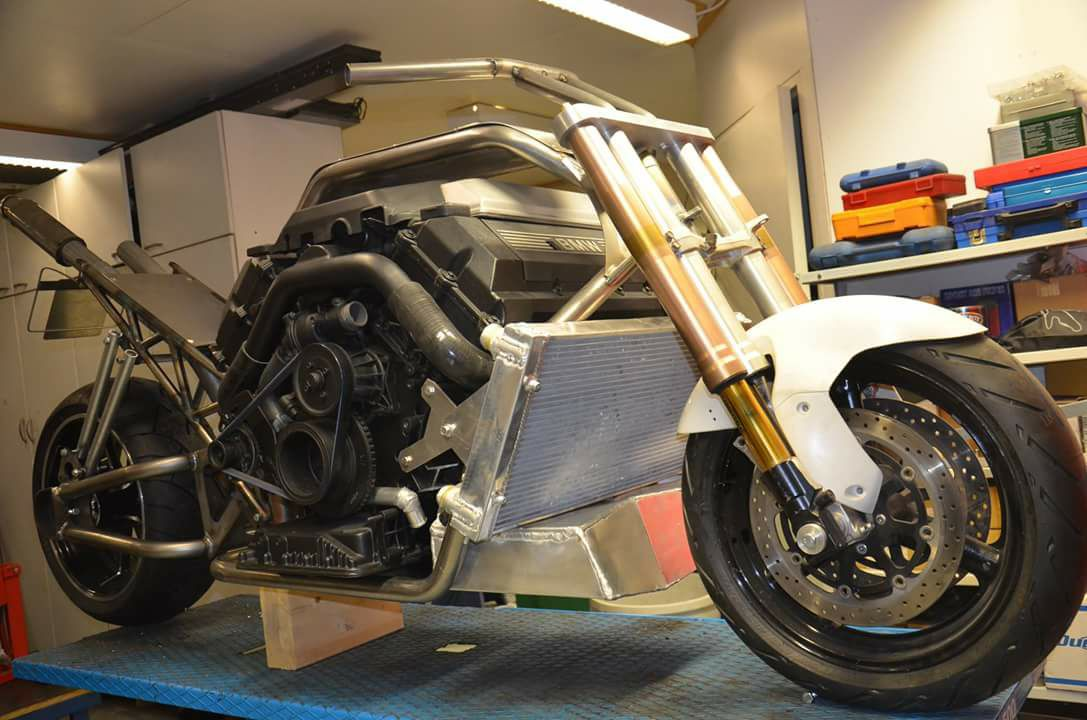 Custom Motorcycle with a Twin-Turbo BMW V8 – Engine Swap Depot