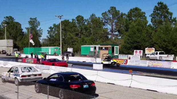 Hayabusa powered golf kart drag races a supercharged Corvette Z06