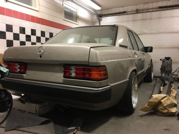 Mercedes 190 E with a Turbo BMW M50B25 inline-six