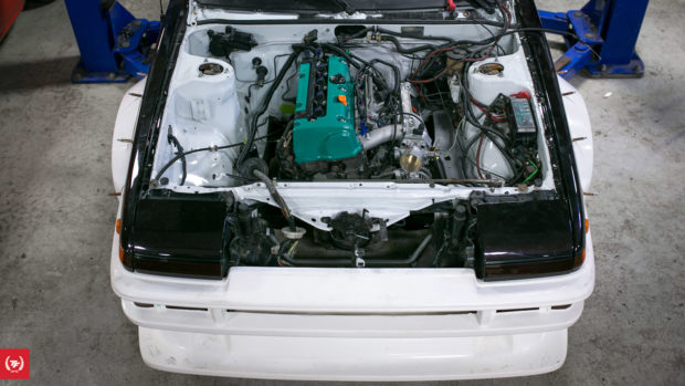 Toyota Corolla AE86 with a 2.4 L K24 inline-four