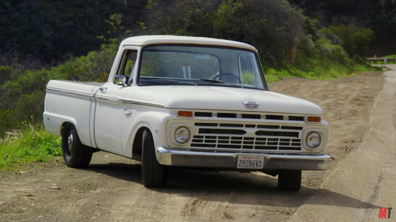 1966 ford f 100 on a crown vic chassis part 2 engine swap depot mustang lightning swap tony and lucky return to finish their 1966 ford f 100 shop truck project instead of swapping out a lot of components piece by piece they are installing the
