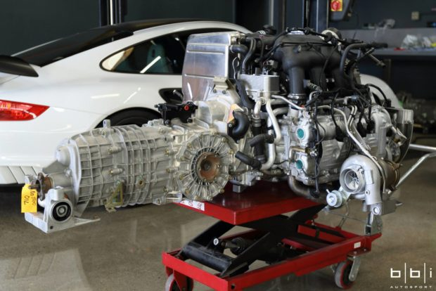 Porsche 997 with a twin-turbo GT3 flat-six