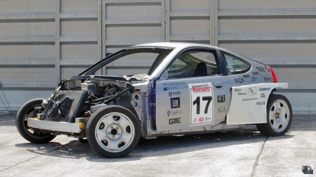 Wreck Racing's Honda Insight with a Subaru Flat-six