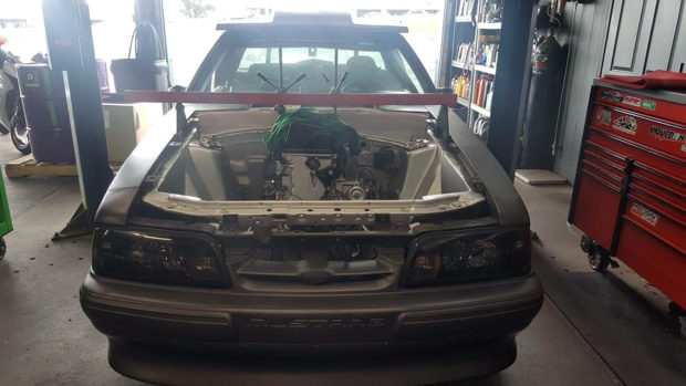 Foxbody Mustang with a Turbo Honda K-series inline-four