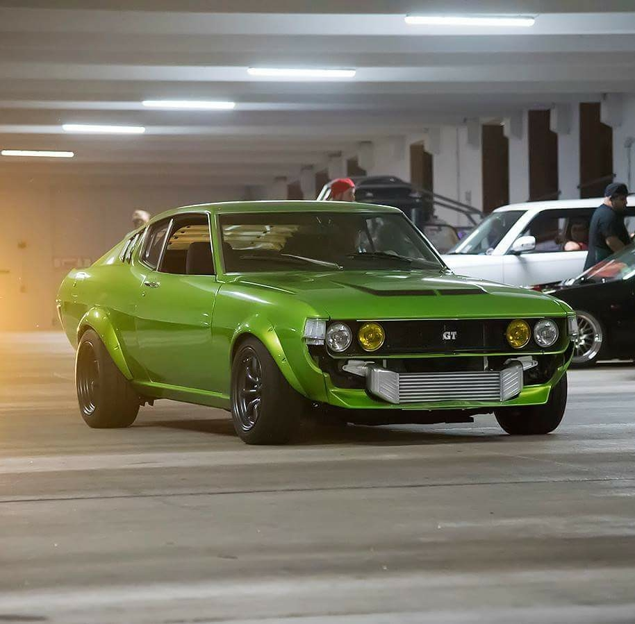 1977 Celica With A Turbo 1uz Engine Swap Depot 1973 Toyota Gt Liftback Mike Gesselle Affectionately Calls His Slimer Under The Lime Green Hood Sits 40 L Fe V8 78 Mm Turbocharger