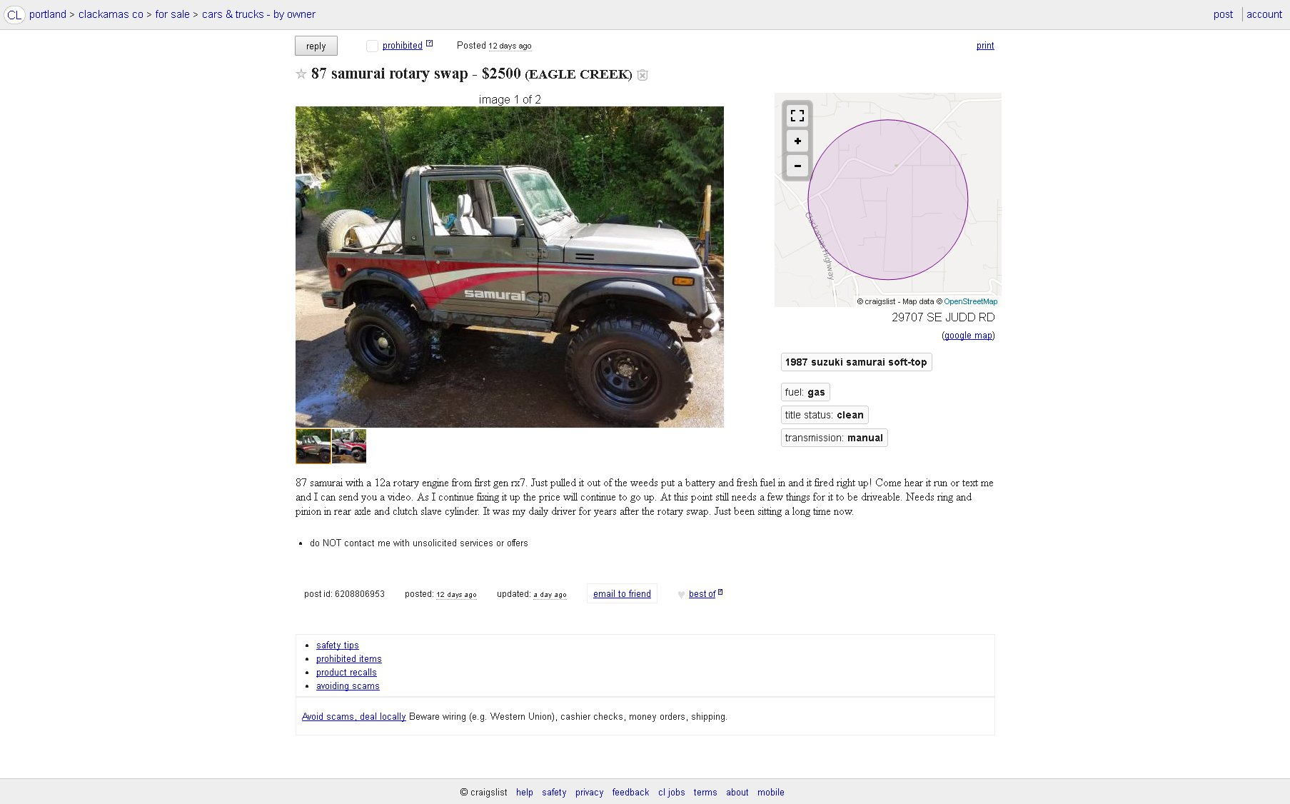 For Sale Suzuki Samurai With A 12a Engine Swap Depot