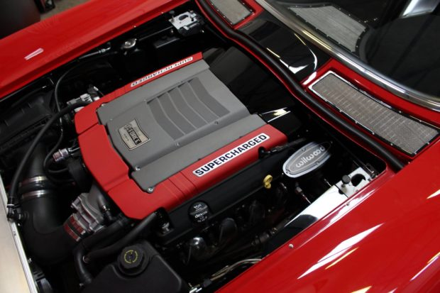 Supercharged 6.2 L LT1 V8 in a 1963 Corvette