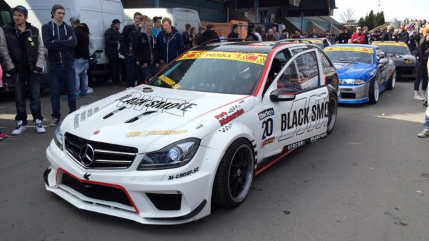 Mercedes W203 drift wagon with OM648 turbo diesel inline-six