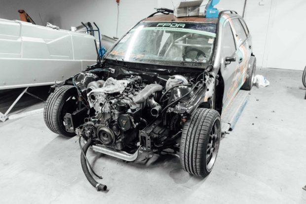 Mercedes W203 drift wagon with OM648 turbo diesel inline-six