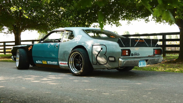 1973 Plymouth Duster on a C6 Corvette chassis with a LS2 V8