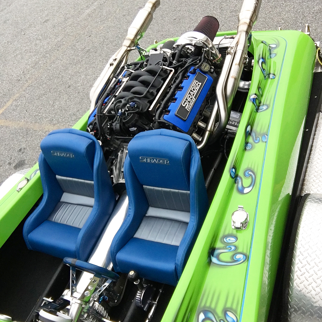1975 Laveycraft drag boat with a supercharged Coyote V8