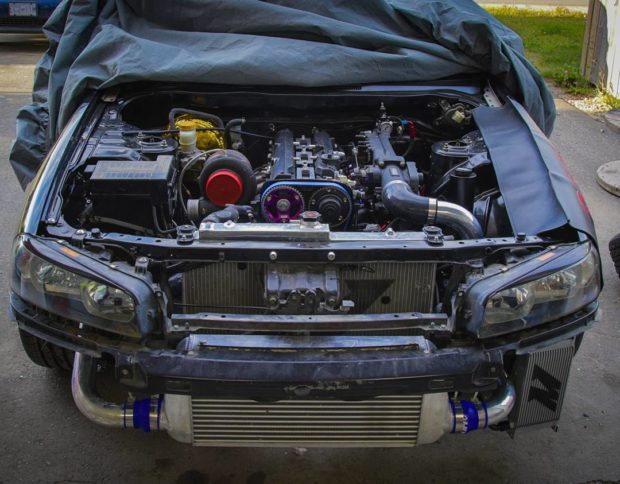 Nissan R34 with a 2JZ-GTE inline-six