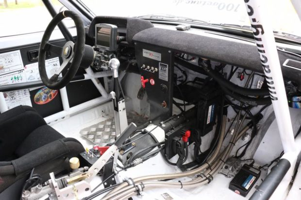 interior of Toyota Starlet built for Finland Group F rally racing