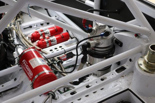dry sump oil canister on Toyota Starlet built for Finland Group F rally racing
