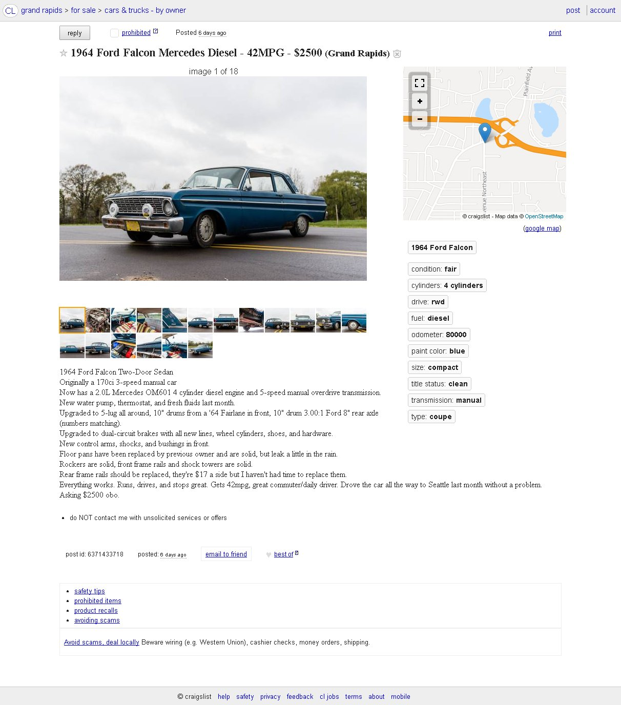 For Sale 1964 Ford Falcon With A Mercedes Diesel Inline Four Wiring Source Craigslist Click Here