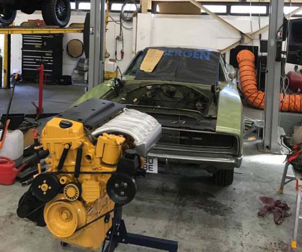 1968 Charger with a Mercedes OM606 diesel inline-six