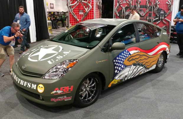 custom Toyota Prius with a Hellcat V8
