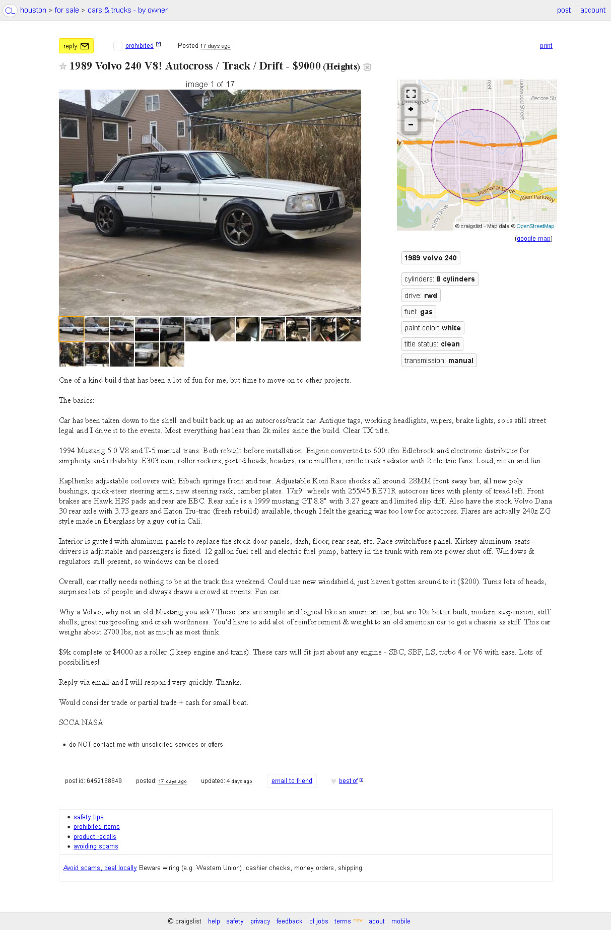 For Sale Volvo 240 With A Ford V8 Engine Swap Depot 1994 Auto Car Wiring Schematic Source Craigslist Click Here
