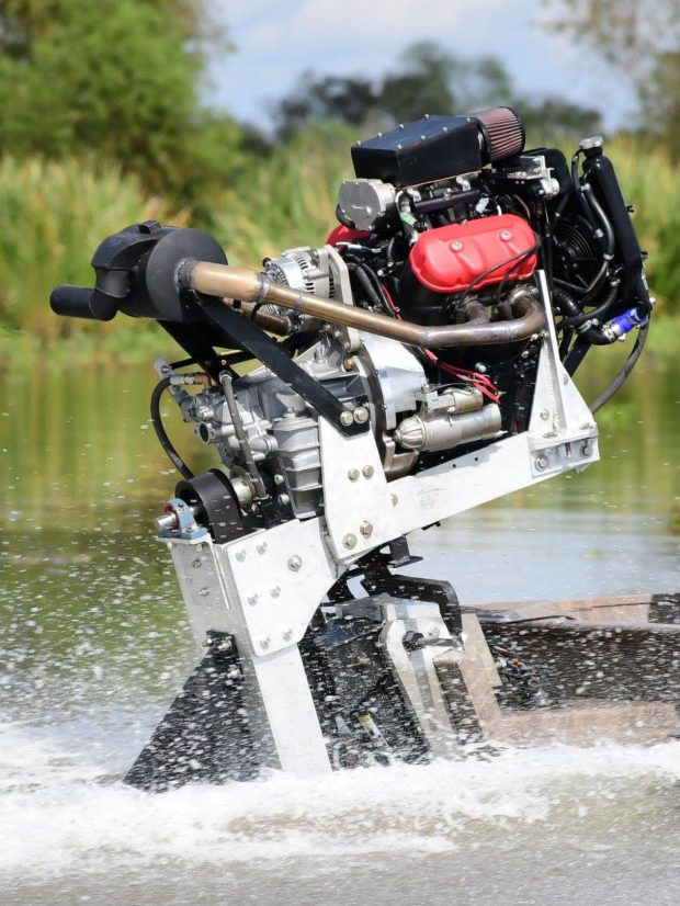 Rogue Propulsion surface drive boat with a Motus V4