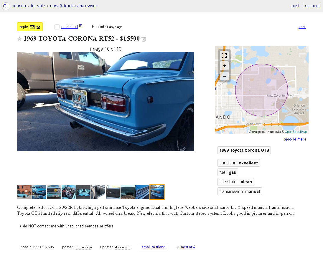For Sale: 1969 Toyota Corona with a 20/22R Inline-Four