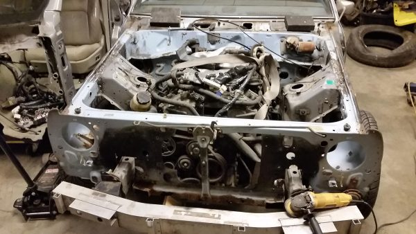 VQ35 V6 and G35 subframe installed in 1980 Datsun 210 engine bay