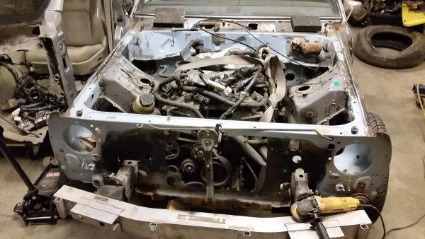 VQ35 V6 and G35 subframe installed in 1980 Datsun 210 engine bay