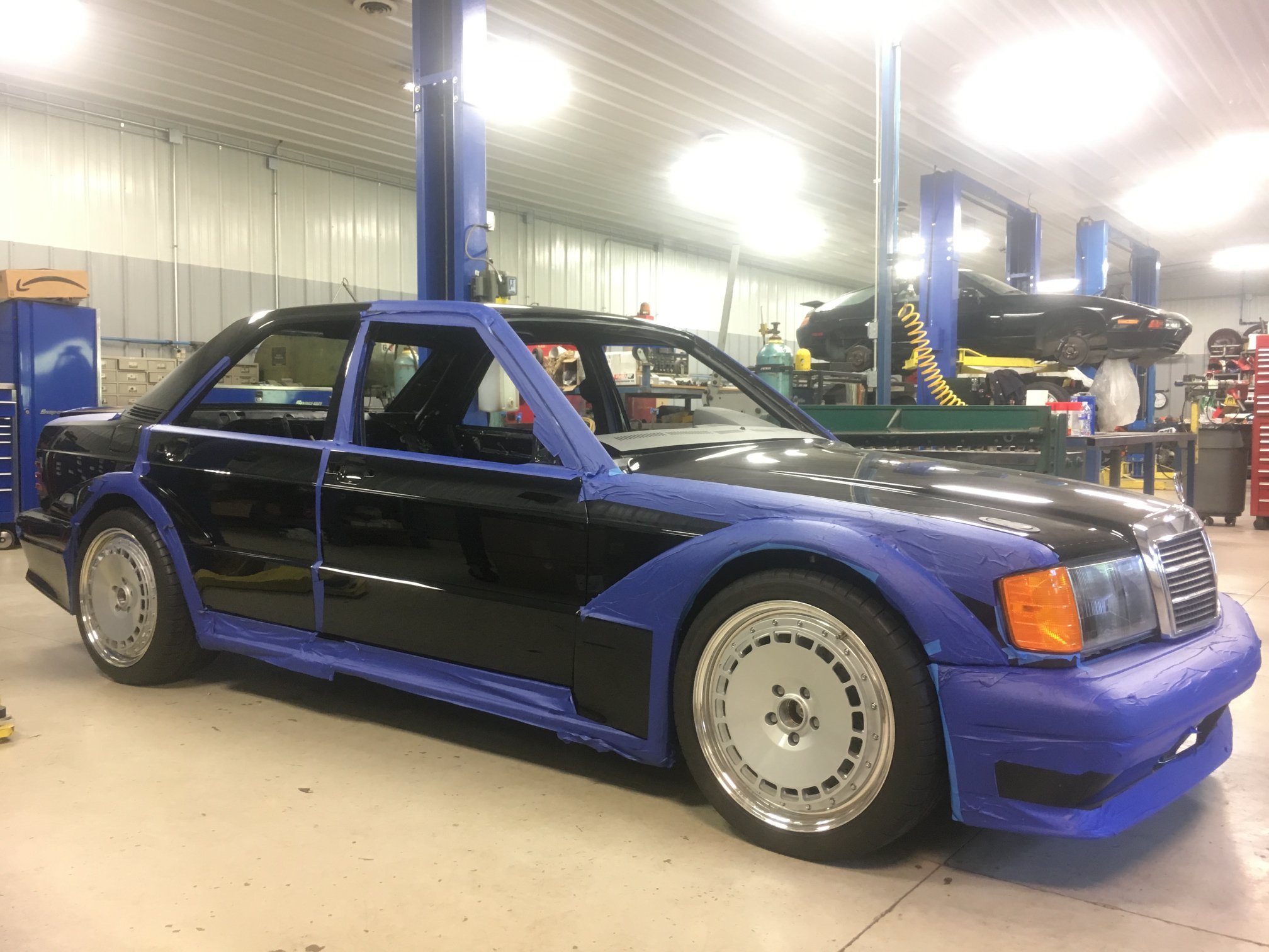Mercedes 190E on a C63 AMG chassis