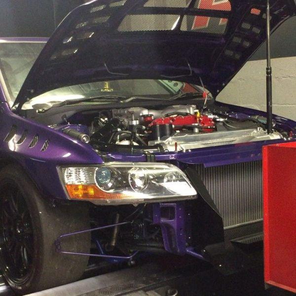 Mistubishi Evo 8 with a twin-turbo 4.1 L VR38DETT V6