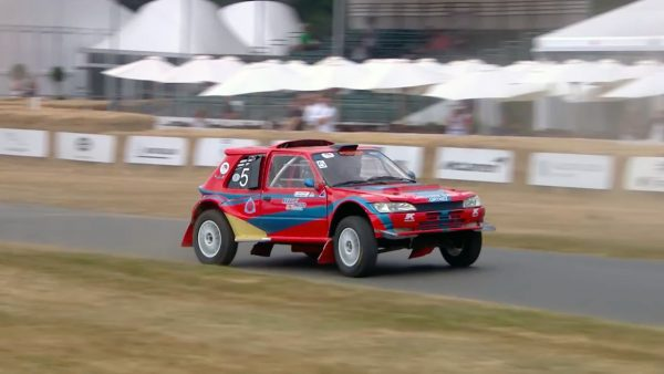 Peugeot 205 with a 20B Rotary going up Goodwood hill