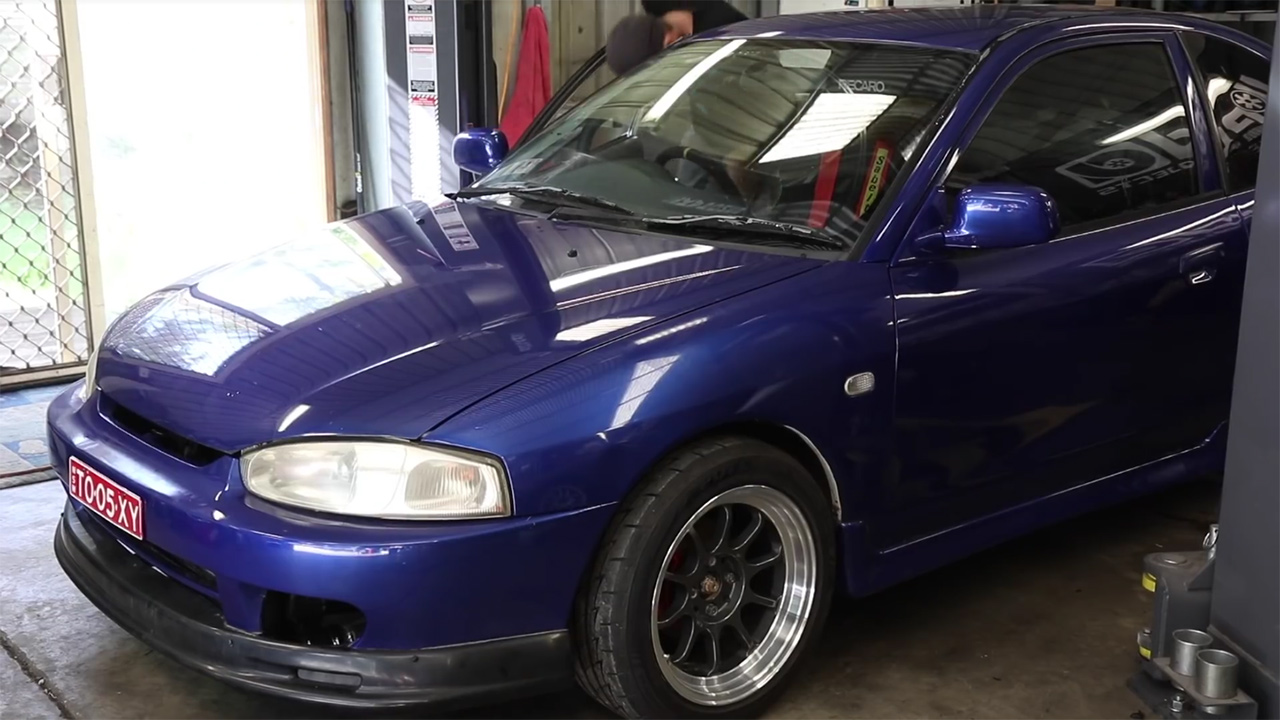 Mitsubishi Lancer with a turbo 4G69 inline-four