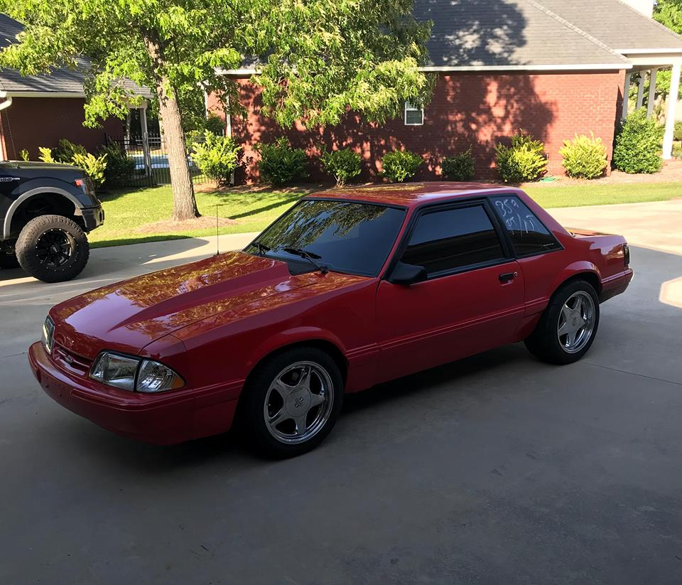 This 1990 mustang is for sale on fb marketplace in columbus georgia for 18000 the foxbody is powered by a 2014 5 0 l coyote v8 with a cobra jet intake