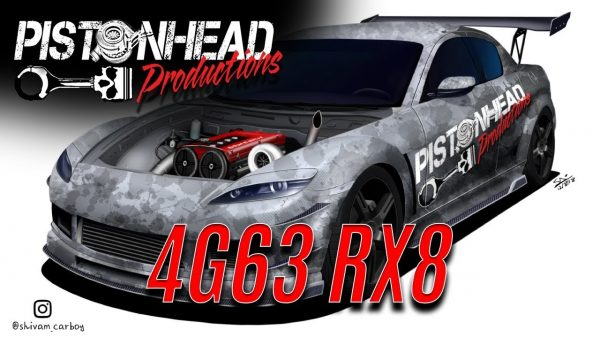 Mazda RX-8 with a turbo 4G63 inline-four