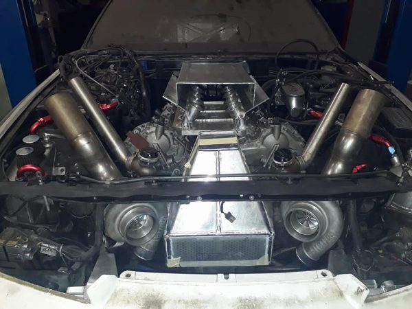 Nissan R32 GTR with a twin-turbo VK56 V8