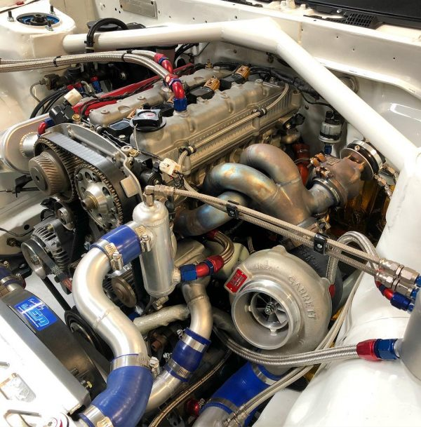 Toyota AE86 with a turbo 3S-GE inline-four
