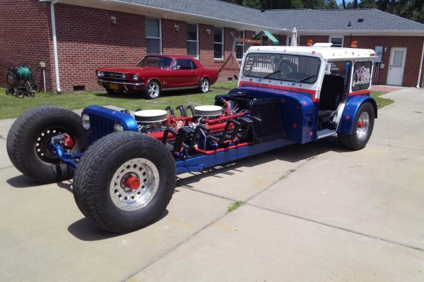 Custom Postal Jeep with two 355 ci Chevy V8 engines
