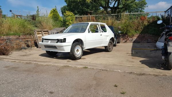 RWD Peugeot 205 with a mid-engine Renault 2.0 L inline-four