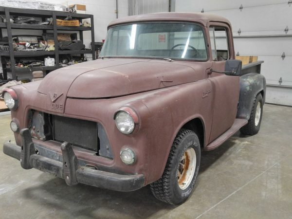 1956 Dodge truck getting ready to have the body stripped